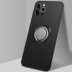 Custodia Silicone Ultra Sottile Morbida Cover con Magnetico Anello Supporto N02 per Apple iPhone 12 Pro Max Nero