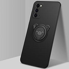 Custodia Silicone Ultra Sottile Morbida Cover con Magnetico Anello Supporto N02 per Samsung Galaxy Note 20 5G Nero