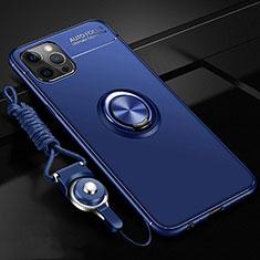 Custodia Silicone Ultra Sottile Morbida Cover con Magnetico Anello Supporto N03 per Apple iPhone 12 Pro Blu