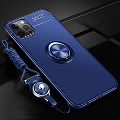 Custodia Silicone Ultra Sottile Morbida Cover con Magnetico Anello Supporto N03 per Apple iPhone 12 Pro Max Blu