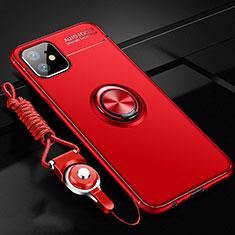 Custodia Silicone Ultra Sottile Morbida Cover con Magnetico Anello Supporto N03 per Apple iPhone 12 Rosso