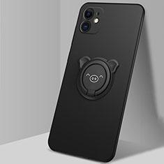 Custodia Silicone Ultra Sottile Morbida Cover con Magnetico Anello Supporto N04 per Apple iPhone 12 Mini Nero