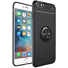 Custodia Silicone Ultra Sottile Morbida Cover con Magnetico Anello Supporto per Apple iPhone 6 Plus Nero