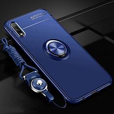 Custodia Silicone Ultra Sottile Morbida Cover con Magnetico Anello Supporto per Huawei Enjoy 10 Blu