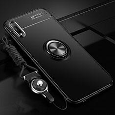Custodia Silicone Ultra Sottile Morbida Cover con Magnetico Anello Supporto per Huawei Enjoy 10 Nero