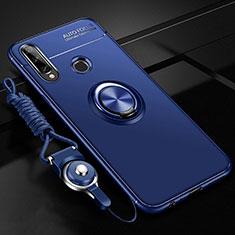 Custodia Silicone Ultra Sottile Morbida Cover con Magnetico Anello Supporto per Huawei Enjoy 10 Plus Blu