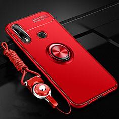 Custodia Silicone Ultra Sottile Morbida Cover con Magnetico Anello Supporto per Huawei Enjoy 10 Plus Rosso