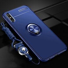 Custodia Silicone Ultra Sottile Morbida Cover con Magnetico Anello Supporto per Huawei Enjoy 10e Blu