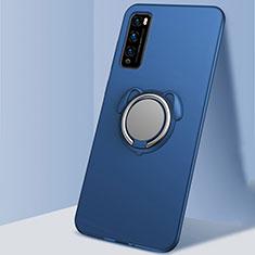 Custodia Silicone Ultra Sottile Morbida Cover con Magnetico Anello Supporto per Huawei Enjoy 20 Pro 5G Blu