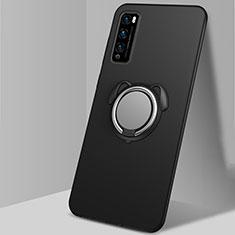 Custodia Silicone Ultra Sottile Morbida Cover con Magnetico Anello Supporto per Huawei Enjoy 20 Pro 5G Nero