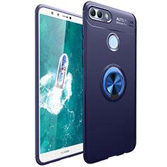 Custodia Silicone Ultra Sottile Morbida Cover con Magnetico Anello Supporto per Huawei Enjoy 8 Plus Blu