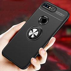Custodia Silicone Ultra Sottile Morbida Cover con Magnetico Anello Supporto per Huawei Enjoy 8 Plus Nero