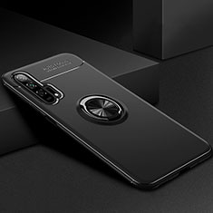 Custodia Silicone Ultra Sottile Morbida Cover con Magnetico Anello Supporto per Huawei Honor 20 Pro Nero
