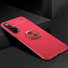 Custodia Silicone Ultra Sottile Morbida Cover con Magnetico Anello Supporto per Huawei Honor 20 Pro Rosso