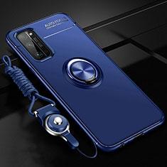 Custodia Silicone Ultra Sottile Morbida Cover con Magnetico Anello Supporto per Huawei Honor 30 Pro Blu