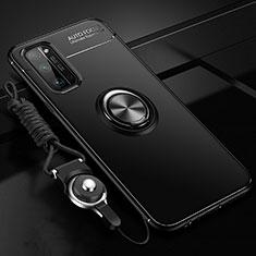 Custodia Silicone Ultra Sottile Morbida Cover con Magnetico Anello Supporto per Huawei Honor 30 Pro Nero