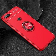 Custodia Silicone Ultra Sottile Morbida Cover con Magnetico Anello Supporto per Huawei Honor 9 Lite Rosso