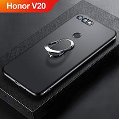 Custodia Silicone Ultra Sottile Morbida Cover con Magnetico Anello Supporto per Huawei Honor View 20 Nero