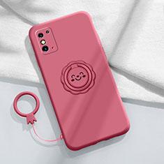 Custodia Silicone Ultra Sottile Morbida Cover con Magnetico Anello Supporto per Huawei Honor X10 Max 5G Rosso Rosa