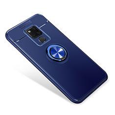 Custodia Silicone Ultra Sottile Morbida Cover con Magnetico Anello Supporto per Huawei Mate 20 Blu