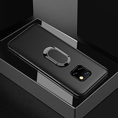 Custodia Silicone Ultra Sottile Morbida Cover con Magnetico Anello Supporto per Huawei Mate 20 Pro Nero