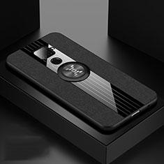 Custodia Silicone Ultra Sottile Morbida Cover con Magnetico Anello Supporto per Huawei Mate 30 Lite Nero