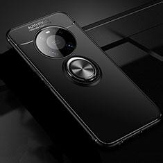 Custodia Silicone Ultra Sottile Morbida Cover con Magnetico Anello Supporto per Huawei Mate 40 Nero