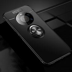 Custodia Silicone Ultra Sottile Morbida Cover con Magnetico Anello Supporto per Huawei Mate 40 Pro+ Plus Nero