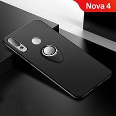 Custodia Silicone Ultra Sottile Morbida Cover con Magnetico Anello Supporto per Huawei Nova 4 Nero