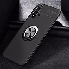 Custodia Silicone Ultra Sottile Morbida Cover con Magnetico Anello Supporto per Huawei Nova 5 Nero
