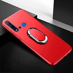 Custodia Silicone Ultra Sottile Morbida Cover con Magnetico Anello Supporto per Huawei Nova 5i Rosso