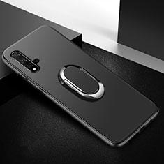 Custodia Silicone Ultra Sottile Morbida Cover con Magnetico Anello Supporto per Huawei Nova 5T Nero