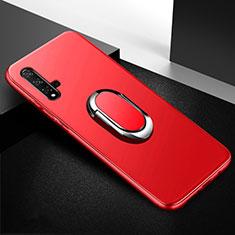 Custodia Silicone Ultra Sottile Morbida Cover con Magnetico Anello Supporto per Huawei Nova 5T Rosso