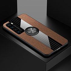Custodia Silicone Ultra Sottile Morbida Cover con Magnetico Anello Supporto per Huawei Nova 7 5G Marrone