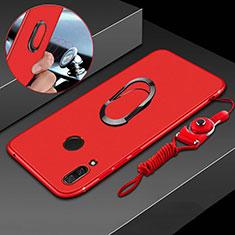 Custodia Silicone Ultra Sottile Morbida Cover con Magnetico Anello Supporto per Huawei P Smart+ Plus Rosso