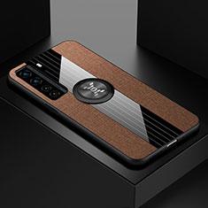 Custodia Silicone Ultra Sottile Morbida Cover con Magnetico Anello Supporto per Huawei P40 Lite 5G Marrone