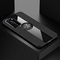Custodia Silicone Ultra Sottile Morbida Cover con Magnetico Anello Supporto per Huawei P40 Pro Nero