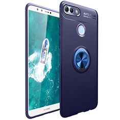 Custodia Silicone Ultra Sottile Morbida Cover con Magnetico Anello Supporto per Huawei Y9 (2018) Blu