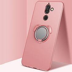 Custodia Silicone Ultra Sottile Morbida Cover con Magnetico Anello Supporto per Nokia 7 Plus Oro Rosa