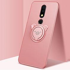 Custodia Silicone Ultra Sottile Morbida Cover con Magnetico Anello Supporto per Nokia X5 Oro Rosa