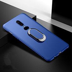 Custodia Silicone Ultra Sottile Morbida Cover con Magnetico Anello Supporto per OnePlus 6T Blu