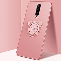 Custodia Silicone Ultra Sottile Morbida Cover con Magnetico Anello Supporto per OnePlus 8 Oro Rosa