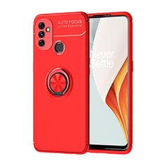 Custodia Silicone Ultra Sottile Morbida Cover con Magnetico Anello Supporto per OnePlus Nord N100 Rosso