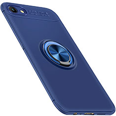 Custodia Silicone Ultra Sottile Morbida Cover con Magnetico Anello Supporto per Oppo A3 Blu