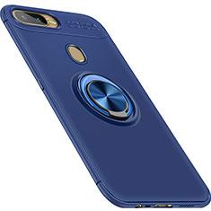 Custodia Silicone Ultra Sottile Morbida Cover con Magnetico Anello Supporto per Oppo A7 Blu