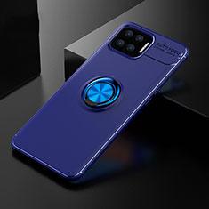 Custodia Silicone Ultra Sottile Morbida Cover con Magnetico Anello Supporto per Oppo F17 Blu