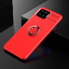 Custodia Silicone Ultra Sottile Morbida Cover con Magnetico Anello Supporto per Oppo F17 Rosso