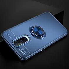Custodia Silicone Ultra Sottile Morbida Cover con Magnetico Anello Supporto per Oppo R17 Pro Blu