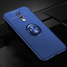 Custodia Silicone Ultra Sottile Morbida Cover con Magnetico Anello Supporto per Oppo Realme X Blu