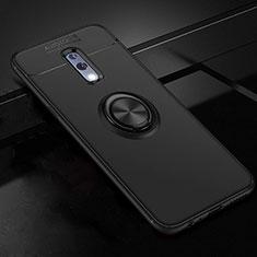 Custodia Silicone Ultra Sottile Morbida Cover con Magnetico Anello Supporto per Oppo Realme X Nero